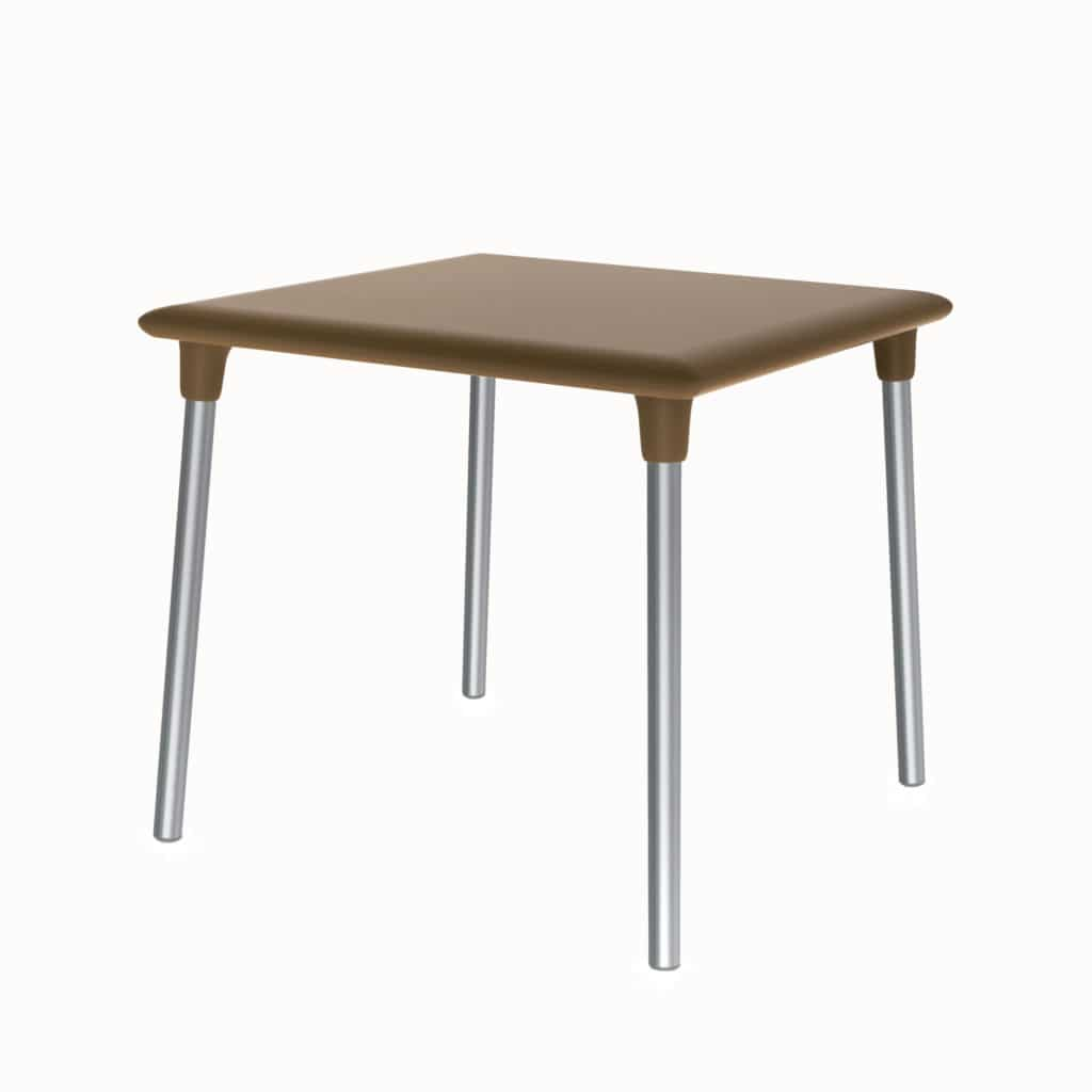 Outdoor Furniture Contemporary Collection – Resaca Commercial Dining Table – Steel Legs – Brown Tabletop