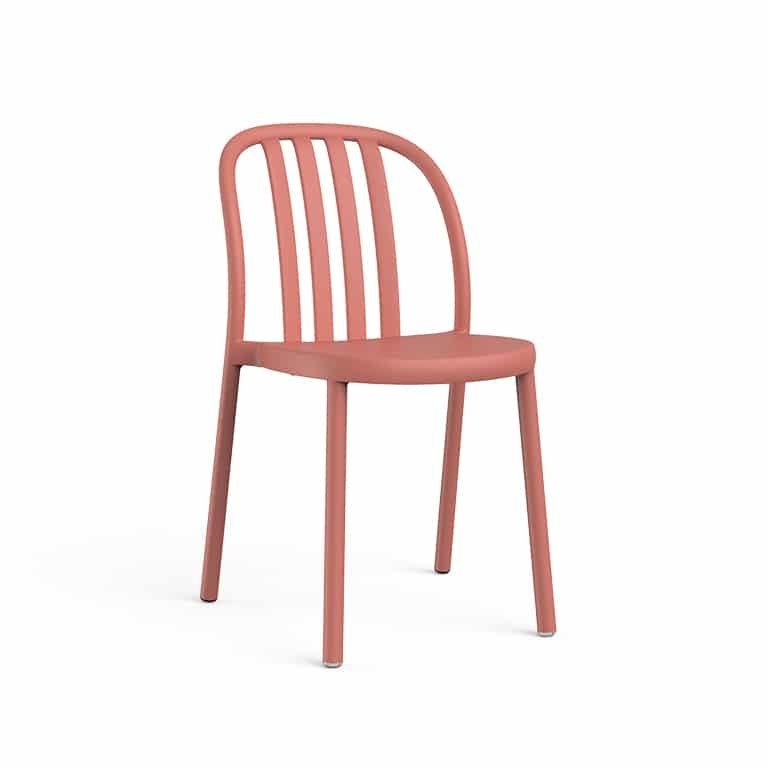 <p>Outdoor Furniture Contemporary Collection – Sanbruno Chair – Dusky Pink.</p> <p> </p> <p>Chair for indoor and outdoor use available in a a variety of colours, stackable & UV Protection, with a retro feel reminding us of wooden chairs of yesteryear, capturing essential features such as lightness, functionality, ergonomics and care for the environment.</p>
