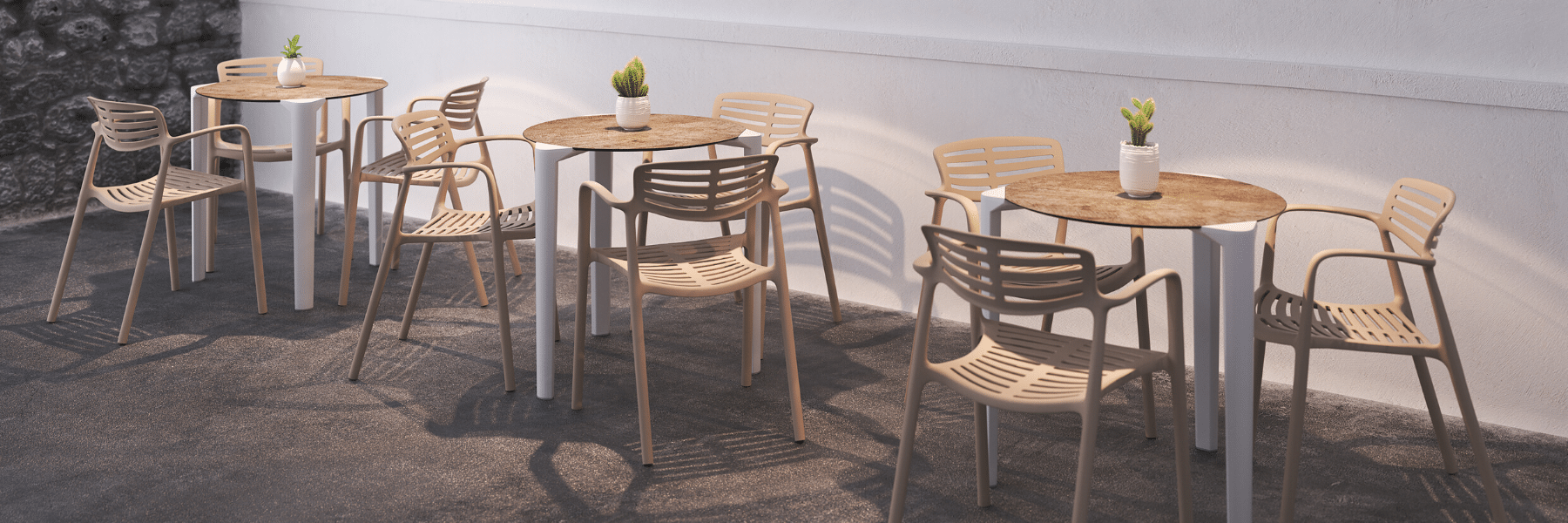<p>Outdoor Furniture Contemporary Collection – Todas Table.</p> <p> </p> <p>Relaxed and comfortable Hotel Café Terrace Set.</p> <p> </p> <p>Modern Commercial Outdoor Furniture desired by Architects designing stylish hotel terrace areas. Includes Armchairs, benches, table.</p>