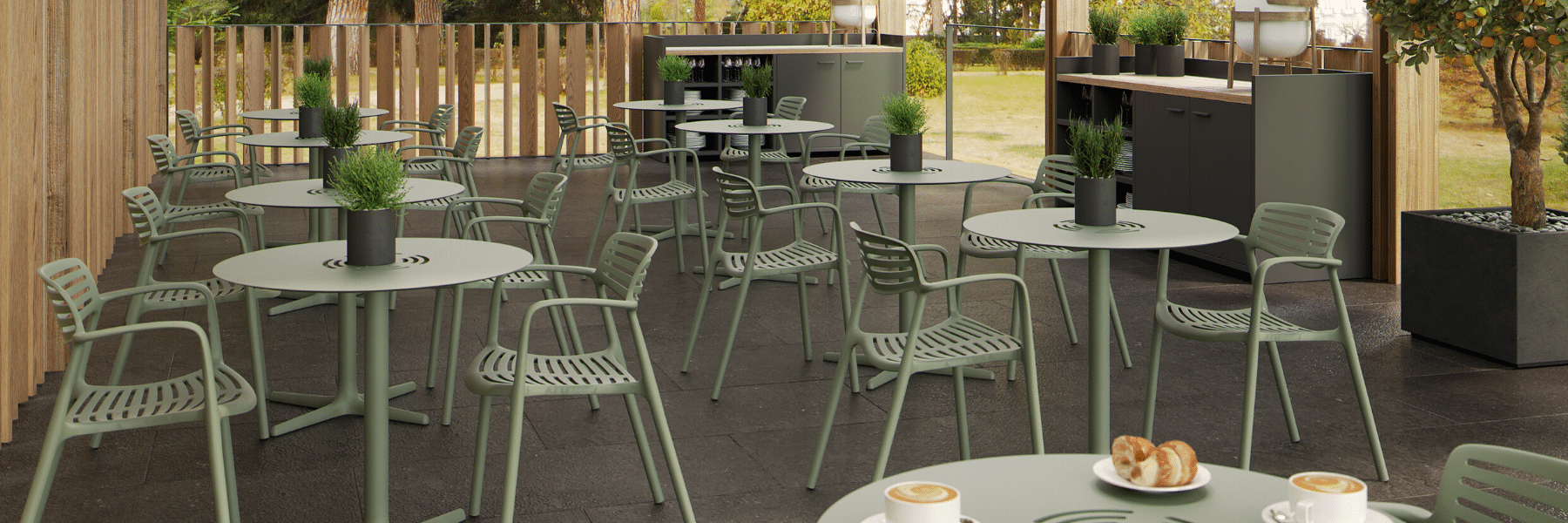 <p>Outdoor Furniture Contemporary Collection – Yuno Commercial Dining Set.</p> <p> </p> <p>Chairs and Tables designed for commercial use indoors and outdoors, capturing essential features such as clear lines, lightness, stability, functionality, ergonomics and care for the environment. Comfort, Modernity, style and durability.</p> <p> </p> <p>Desired by architects designing modern outdoor commercial hospitality dining areas</p>