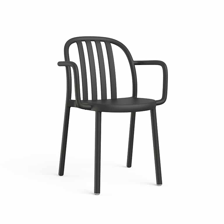 <p>Outdoor Furniture Contemporary Collection – Sanbruno Armchair – Black</p> <p> </p> <p>Armchair for indoor and outdoor use available in a variety of colours, stackable & UV Protection, with a retro feel reminding us of wooden chairs of yesteryear, capturing essential features such as lightness, stability, functionality, ergonomics and care for the environment.</p>