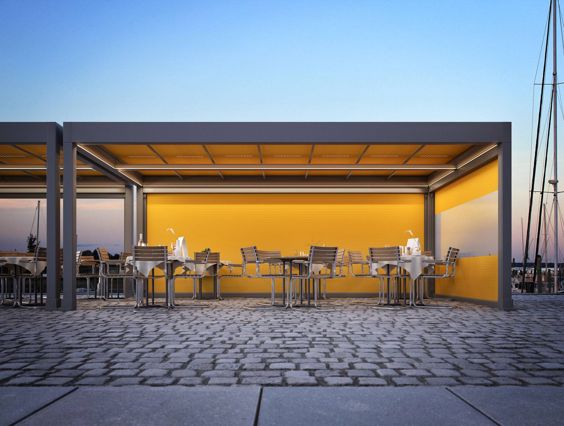 <p>Markilux Awnings Solar Protection Markant – outdoor space extension</p> <p></p> <p>Markant is freestanding retractable awning system for open spaces complementing high-end commercial hospitality outdoor areas allowing customers to spend as much time outdoors without compromising weather protection.</p>