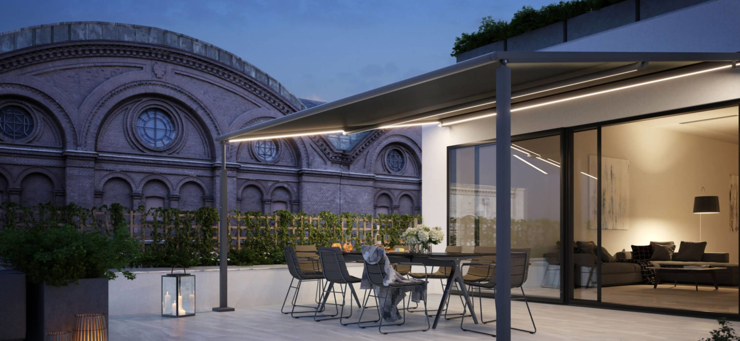 <p>Markilux Awnings Solar Protection Pergola Compact Limited Space Setting</p> <p></p> <p>Pergola Compact suits the smaller hospitality venue with limited space, but looking to extend their dining offering</p>