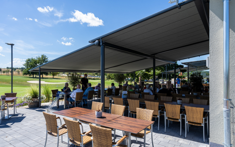 <p>Markilux Awnings & Solar Protection – Golf Course Pavilion Terrace Pergola</p> <p></p> <p>Pergolas suited to all kinds of Hospitality outdoor spaces enabling 365 Day Dining experiences for customers whilst remaining COVID safe</p>