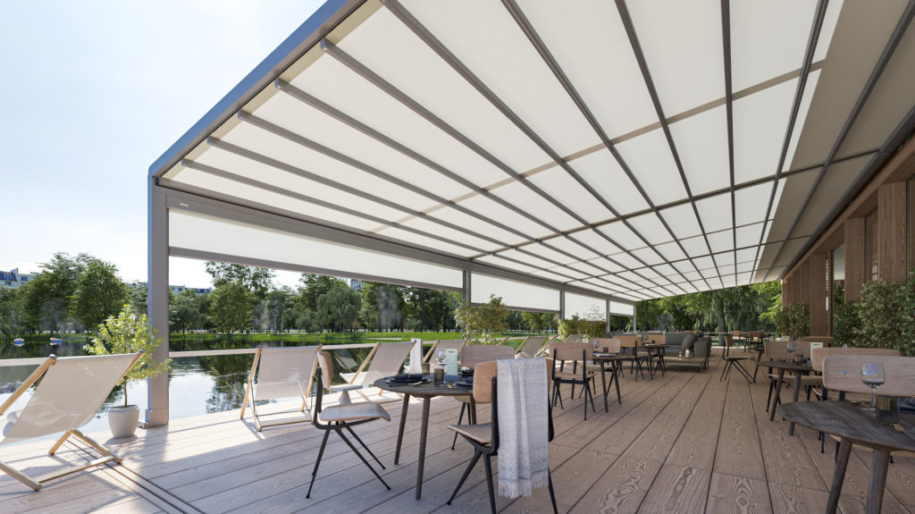 Markilux Awnings Solar Protection Pergola Stretch Restaurant Extended