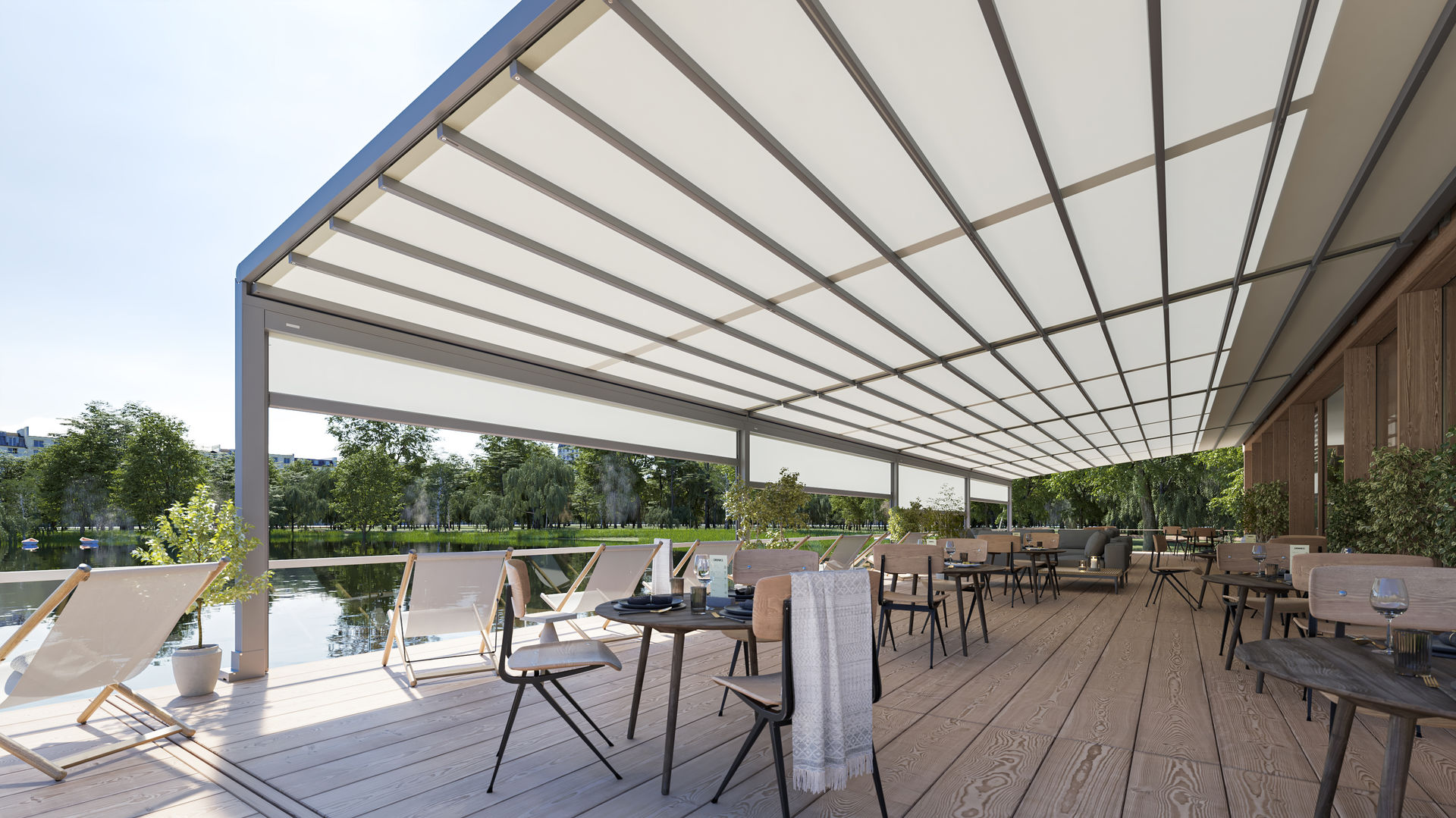 <p>Markilux Awnings Solar Protection Pergola Stretch Restaurant Extended</p> <p></p> <p>Restaurant Terrace Covered Hospitality Area Outdoor Restaurant setting</p> <p></p> <p>Pergola Stretch – Restaurant outdoor terrace setting – keeping your customers protected from all-weathers 365 days of the year</p>