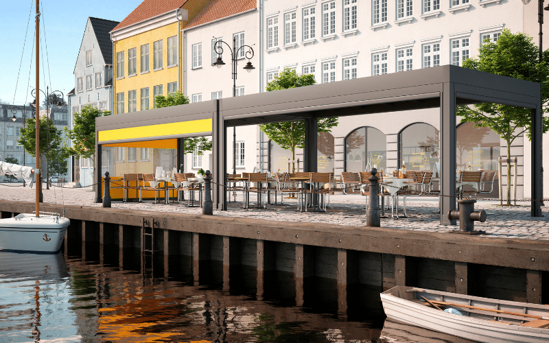 <p>Markilux Markant Restaurant Terrace Covered Hospitality Area situated by a harbour setting.</p> <p></p> <p>Markant is freestanding retractable awning system for open spaces complementing high-end commercial hospitality outdoor areas such as harbour terrace settings allowing customers to spend as much time outdoors without compromising weather protection.</p>