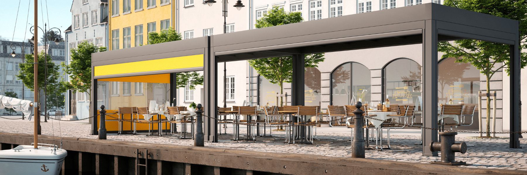 <p>Markilux Markant Restaurant Terrace Covered Hospitality Space situated by a harbour setting.</p> <p></p> <p>Markant is freestanding retractable awning system for open spaces complementing high-end commercial hospitality outdoor areas allowing customers to spend as much time outdoors without compromising weather protection.</p>