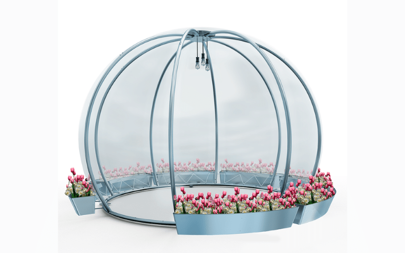 <p>Dining Igloo Commercial & Domestic Dining Solution with Flower Bed weight accessory</p> <p>Suitable for use primarily in domestic garden settings, but also suited for commercial outdoor hospitality venues looking for temporary cover solutions</p> <p>Secluded Dining Igloo enabling intimate dining, relaxing with social bubbles</p> <p>Also Suitable for outdoor dining areas at pubs, restaurants, golf courses, hotels or even at home as an outdoor work from home office pod or garden dining pod</p>