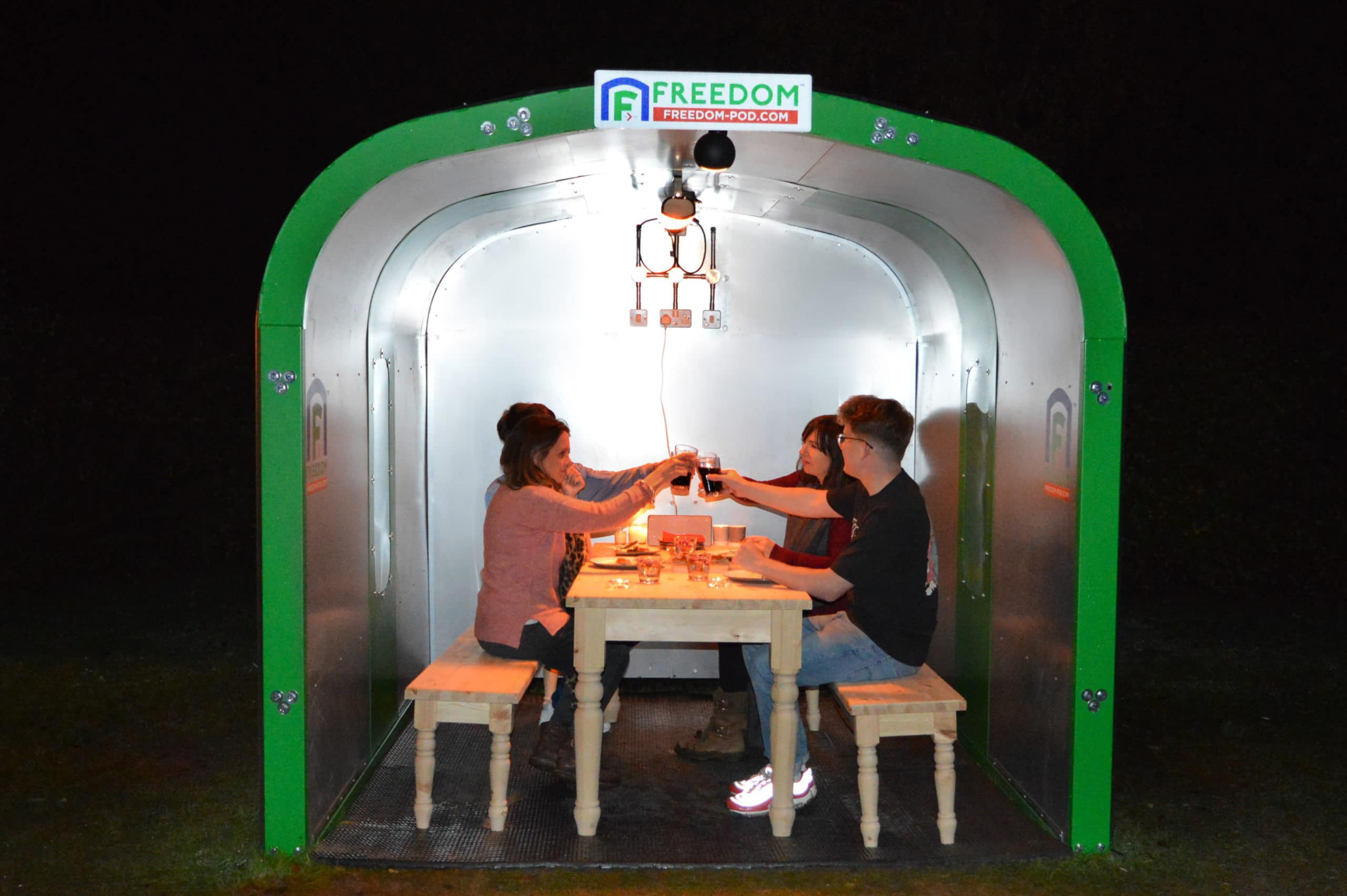 <p>Freedom-Pod-Garden-Pod-Outdoor-Pod-Restaurant-Garden-Location</p> <p>Suitable for use in a Garden as a Garden Pod for outdoor living. Located here in a Restaurant Garden with table & bench set and a family gathered for a celebration meal together</p> <p>Outdoor Pod situated in a Restaurant Garden enabling a family gathering outside in a safe environment to minimise COVID spread</p> <p>Also Suitable for outdoor dining areas at pubs, restaurants, golf courses, hotels or even at home as an outdoor work from home office pod or garden dining pod</p>
