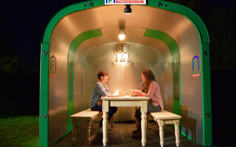 Work From Home Shelter creating a meeting pod or Social Bubble Pod showcasing lighting and table and bench set options