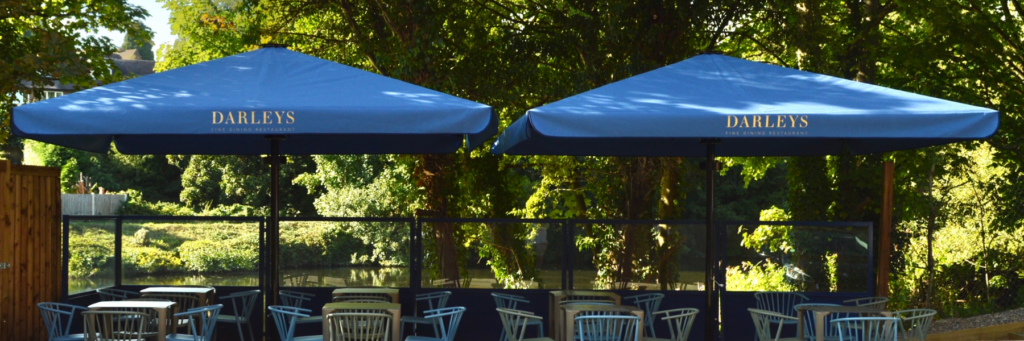 Giant Bella Parasol ideal for hospitality industry to extend the outdoor terrace including river terraces