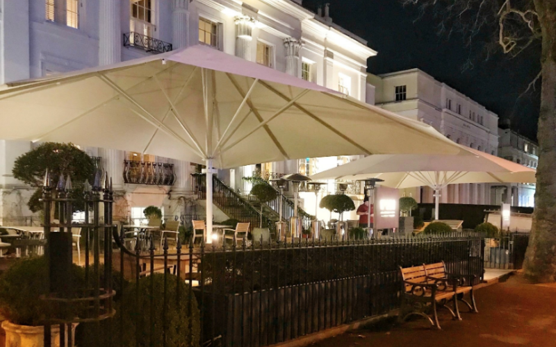 Giant Jumbo Commercial Parasol ideal for hospitality industry to extend their larger outdoor terraces