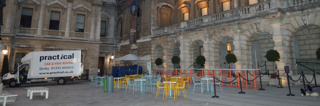 Commercial Parasols wowing guests at The Royal Academy of Arts ideal for hospitality industry to extend their outdoor terrace whilst maximising floor space