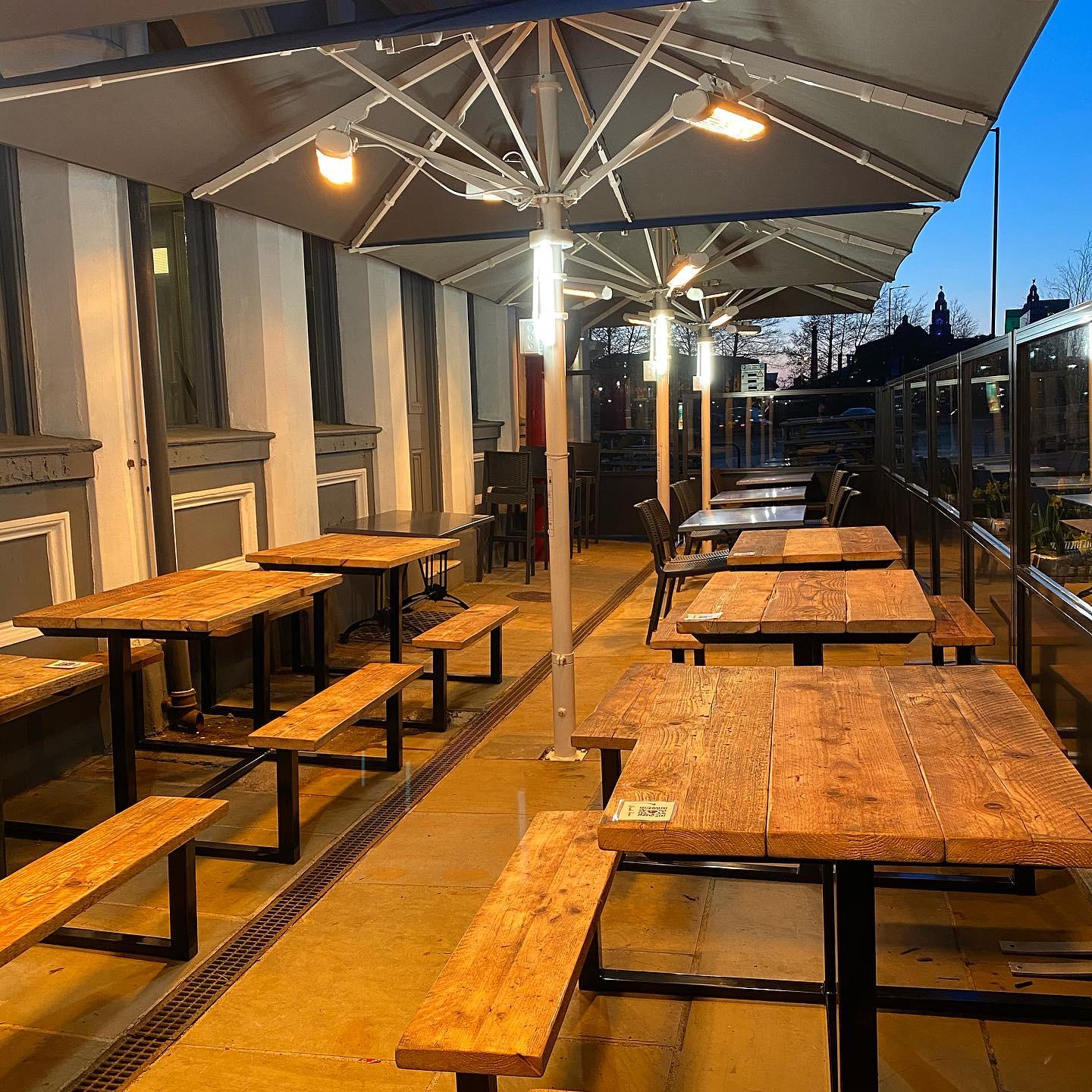<p>Barriers & Screens Gibli Terrace Screens – Parasols Bella – Outdoor Heaters & Lighting – Baltic Fleet</p> <p></p> <p>Transformed using Gibli Terrace Screens & Bella Parasol with outstanding outdoor heaters</p> <p></p> <p>Suitable for Pub Beer Garden Patio as well as other hospitality alfresco areas including Fish & Chip Restaurant Pavement Terraces</p> <p></p> <p>Frames and Glass are available in a variety of colours and options to include corporate branding or sponsor branding are also available.</p> <p></p> <p>Ideal solution to section off alfresco dining areas to allow for 2m social distancing measures, whilst encouraging customer to visit and enjoy what they have always liked to do, dine and socialise</p> <p></p> <p>Includes Parasols & outdoor Heaters to keep people dry & warm whatever the weather</p>
