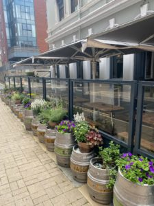 Baltic Fleet Pub Liverpool Terrace defined using Pavement Barriers, Parasols & Outdoor Heaters increasing kerb appeal