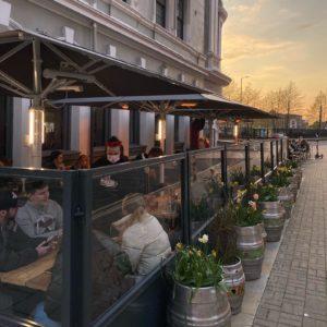 Baltic Fleet Pub Liverpool Terrace defined using Gibli Terrace Screens, Parasols & Outdoor Heaters increasing kerb appeal