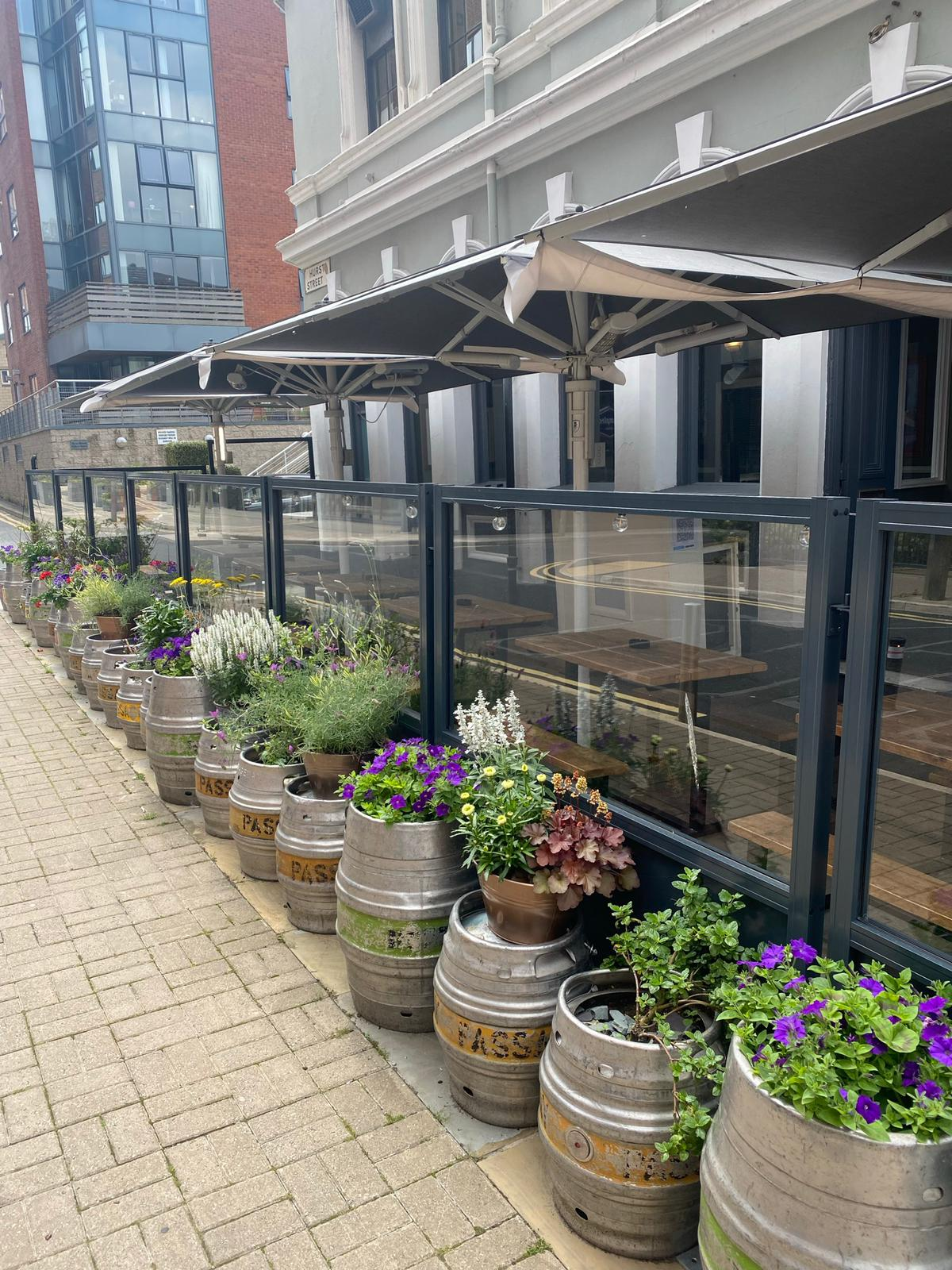 <p>Barriers & Screens – Gibli Terrace Screens – Bella Parasol – Outdoor Heaters – Baltic Fleet</p> <p></p> <p>Transformed using Gibli Terrace Screens & Bella Parasol with outstanding outdoor heaters</p> <p></p> <p>Suitable for Pub Beer Garden Patio as well as other hospitality alfresco areas including Fish & Chip Restaurant Pavement Terraces</p> <p></p> <p>Frames and Glass are available in a variety of colours and options to include corporate branding or sponsor branding are also available.</p> <p></p> <p>Ideal solution to section off alfresco dining areas to allow for 2m social distancing measures, whilst encouraging customer to visit and enjoy what they have always liked to do, dine and socialise</p> <p></p> <p>Includes Parasols & outdoor Heaters to keep people dry & warm whatever the weather</p>